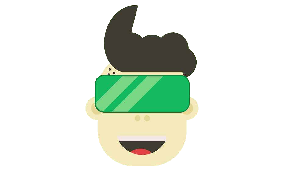 Cartoon graphic of someone using a virtual reality headset.