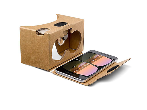 Picture of a Google cardboard headset, which is a box designed to work with smartphones to create a virtual reality experience.