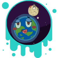 Picture link of a happy earth and an angry moon to the cycles of the moon page.