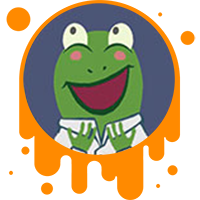 Picture links of a happy cartoon frog to the designing solutions page.