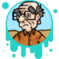 Picture link of a cartoon elderly man and natural hazards page.