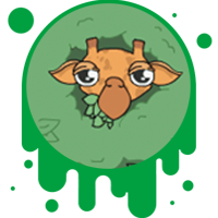 Picture link of a cartoon giraffe to the giraffe traits page.