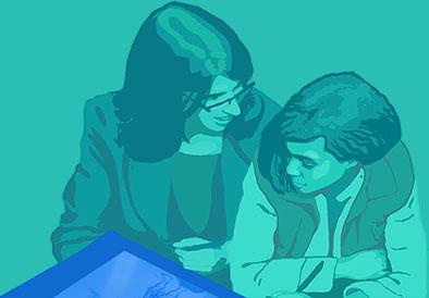 teacher instructing a student
